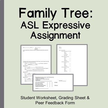 Asl Family Tree Expressive Assignment By I Think I Can Pah Tpt