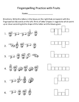 Asl Fingerspelling Practice Worksheets & Teaching Resources | TpT