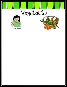 ASL Fruits and Vegetables Sort File Folder Game