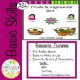 ASL Fruits and Vegetables Sort File Folder Game