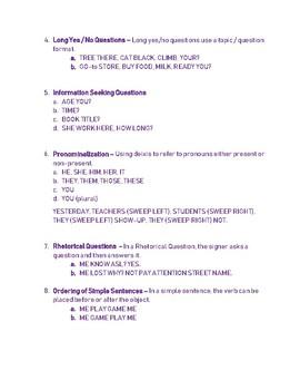 ASL Grammar Rules