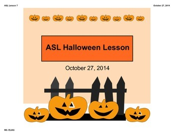 ASL Halloween Lesson / Craft