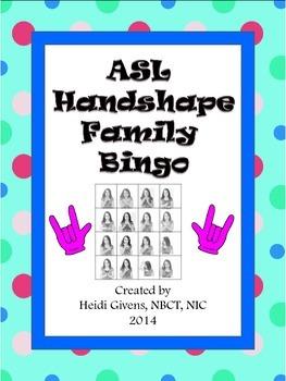ASL Handshape Family Bingo