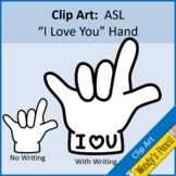 "ASL ""I Love You"" Hand in Sign Language Clip Art"