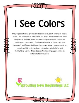 American Sign Language (ASL) ~I See Colors