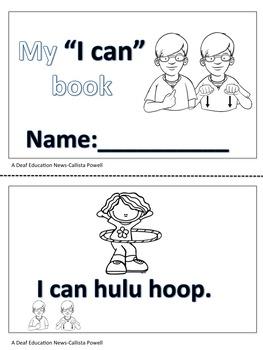 """ASL """"I can"""" mini book"""