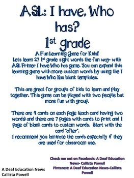 ASL I have, who has? 1st grade game