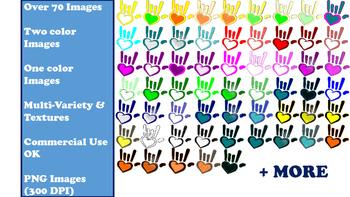 """ASL """"I love you"""" hands clip art (over 70 images)"""