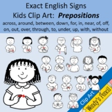 Exact English Signs - Kids Clip Art:  Prepositions