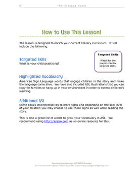 ASL Lesson Plan - The Kissing Hand, a Sign, Read, and Play Lesson