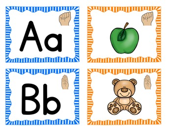 American Sign Language ASL Letters and Sounds Pocket Chart Center