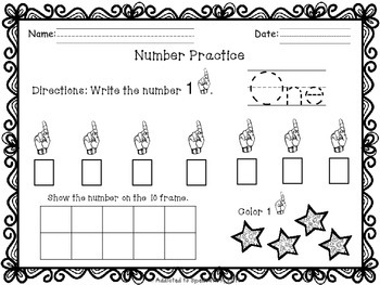 ASL Numbers 0- 10 Writing and Counting Packet