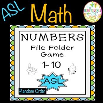 ASL Numbers 1-10 File Folder Game