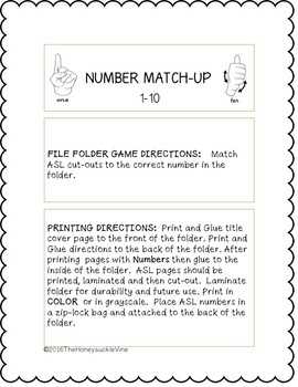 ASL Numbers 1-10 File Folder Game