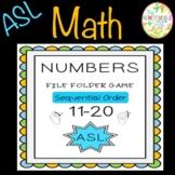 ASL Numbers 11-20 Sequential Order File Folder Game