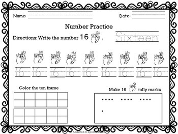 ASL Numbers 11-30 Writing and Counting Packet