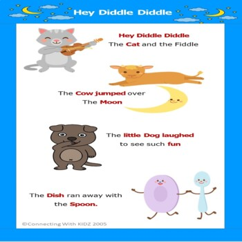 ASL Rhyme 'Hey Diddle-Diddle' Poster
