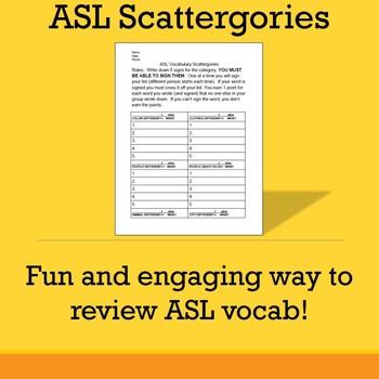 ASL Scattergories