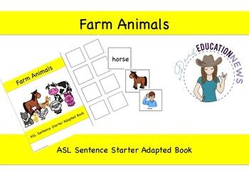ASL Sentence Starter Adapted Book- Farm Animals