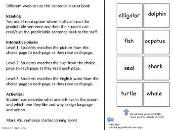 ASL Sentence Starter Adapted Book- Ocean Animals