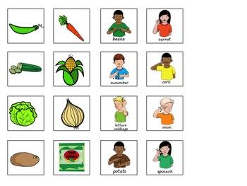 ASL Sentence Starter Adapted Book- Vegetables