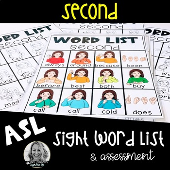 ASL Sight Word List and Assessment Second Grade