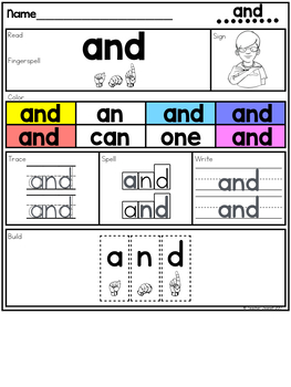 ASL American Sign Language Sight Word Practice Packet (Pre-Primer)