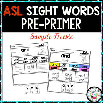 American Sign Language ASL Sight Word Practice Packet (Pre-Primer) - FREE