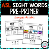 ASL American Sign Language Sight Word Practice Packet (Pre-Primer) - FREE