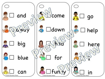 ASL Sight Word Pre-primer Sticker Book