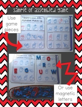 ASL Sign Language Alphabet Match Up File Folder Game