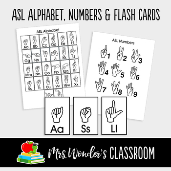 ASL Sign Language Alphabet, Numbers and Flash Cards