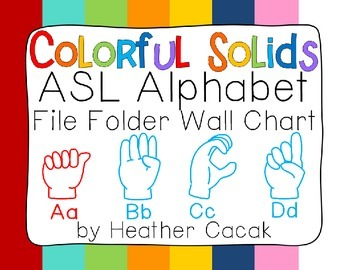 ASL Sign Language Alphabet Wall Chart - Solid Colors