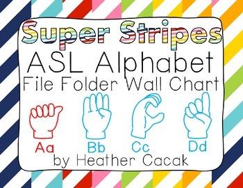 ASL Sign Language Alphabet Wall Chart - Stripes