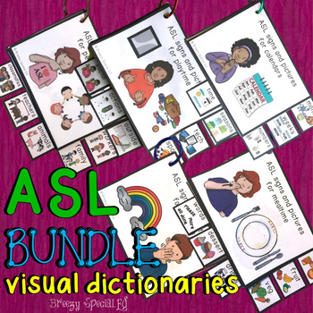 ASL (Sign Language) BUNDLE Visual Flashcard Dictionaries