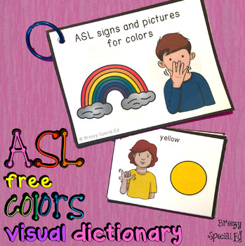 ASL (Sign Language) Colors Visual Flashcard Dictionary