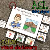 ASL (Sign Language) School Basics Visual Flashcard Dictionary