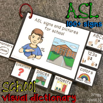 ASL (Sign Language) School Basics Visual Flashcard Dictionary