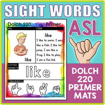 ASL Sign Language Sight Word Activity Charts: Dolch 220 Primer