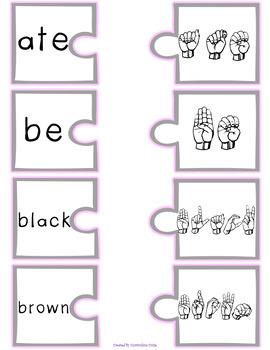 ASL Sign Language Sight Word Puzzles PRIMER
