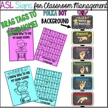 ASL Signs for Classroom Management  (polka dots)