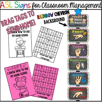 ASL Signs for Classroom Management  (rainbow chevron)