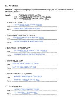 ASL: Simple Verb Tense Worksheet