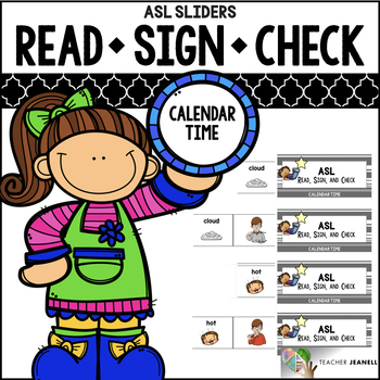 ASL American Sign Language Sliders Calendar Time - Read, Sign, and Check