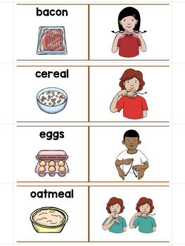 ASL American Sign Language Sliders Mealtime - Read, Sign, and Check
