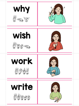 ASL Sign Language Sliders Second Grade Sight Words-Read, Sign, and Check