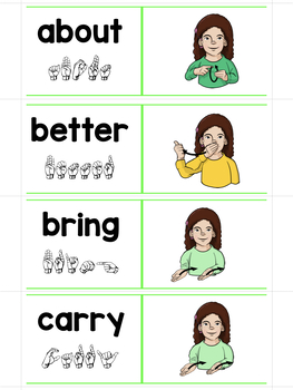 ASL Sliders Third Grade Sight Words - Read, Sign, and Check