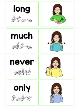 ASL American Sign Language Sliders Third Grade Sight Words-Read, Sign, and Check
