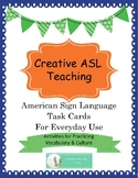 ASL Task Cards - Vocabulary, Culture - Editable