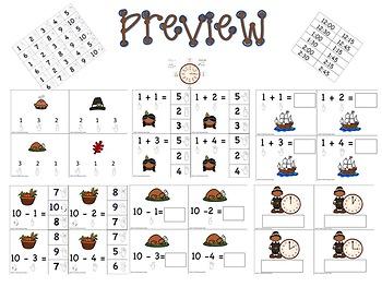 ASL: Thanksgiving Basic Skill Math Task Boxes